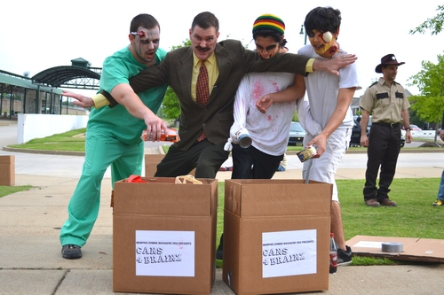 Dr Tobbogans blocks zombies as they donate food